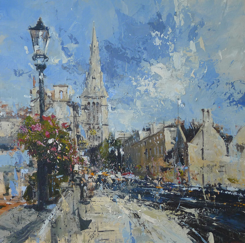 The_sunny_side_of_the_street._St_Marys_Hill_Stamford__60x60cm_Acrylic_on_panel