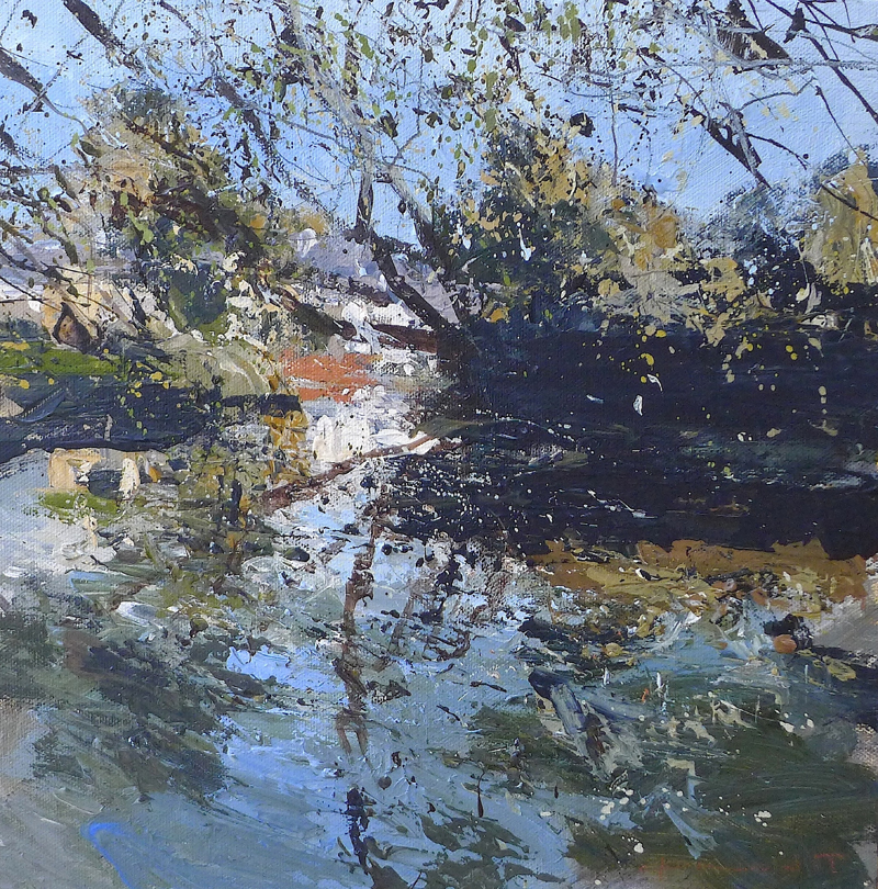 the_river_Welland_reflected_30x30cm_acrylic_on_panel__
